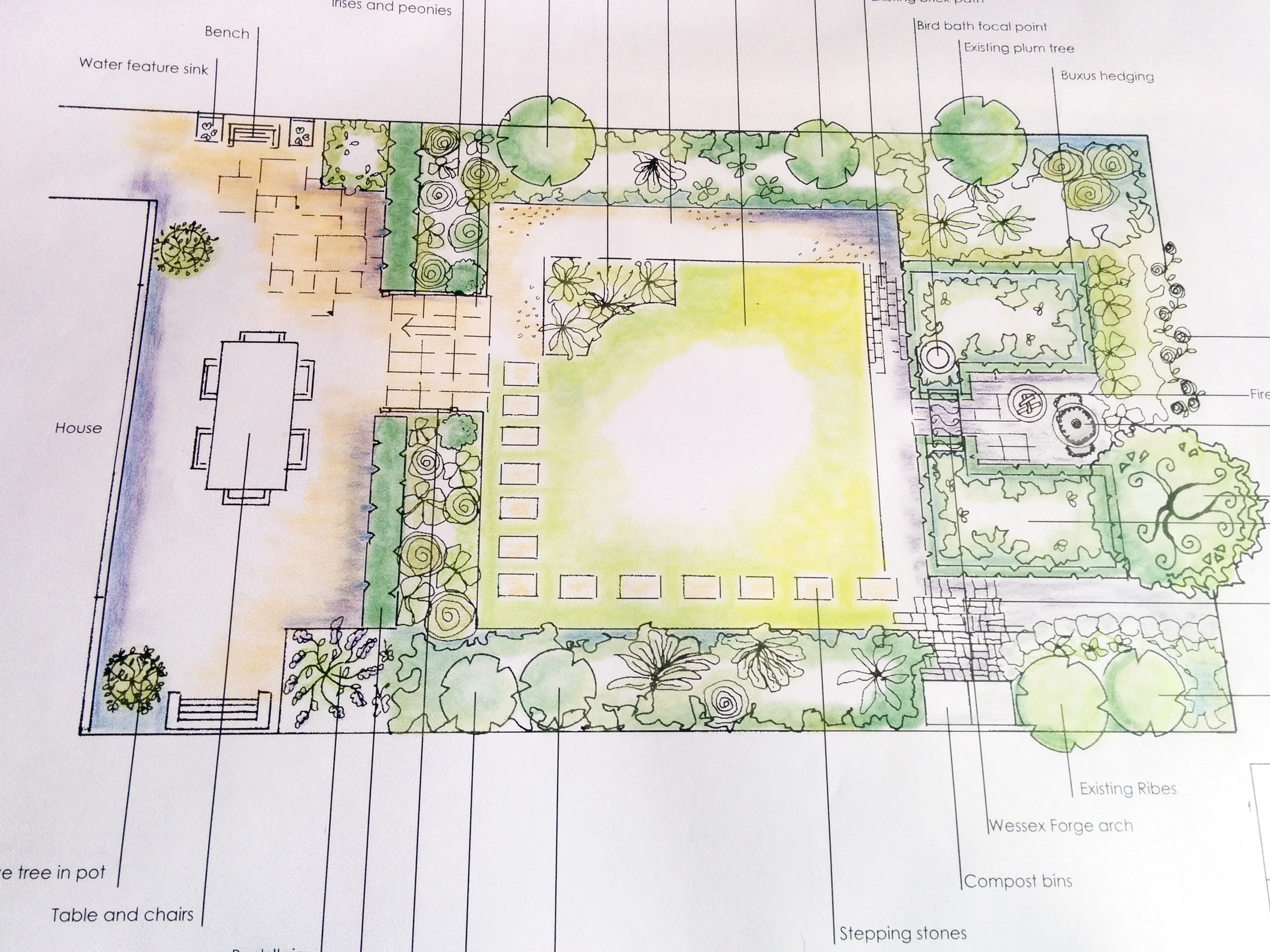 catherine dixons garden designs are drawn to scale and show hard landscaping and garden features from a birds eye view - Garden Design Birds Eye View